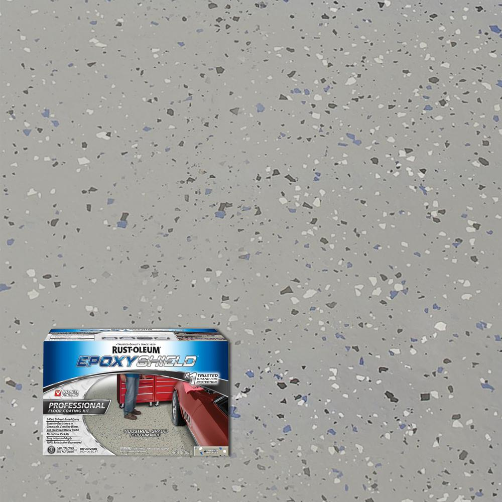 Rust Oleum Epoxyshield 2 Gal Silver Gray Semi Gloss Professional Floor Coating Kit 2 Pack 203373 The Home Depot Floor Coating Concrete Floor Coatings Rustoleum