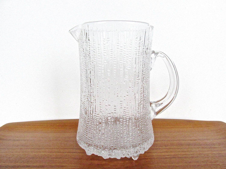 Vintage Iittala Ultima Thule Large Pitcher, Tapio Wirkkala 50 oz. Glass Water Pitcher, Scandinavian Textured Icy Glass Barware by HerVintageCrush on Etsy