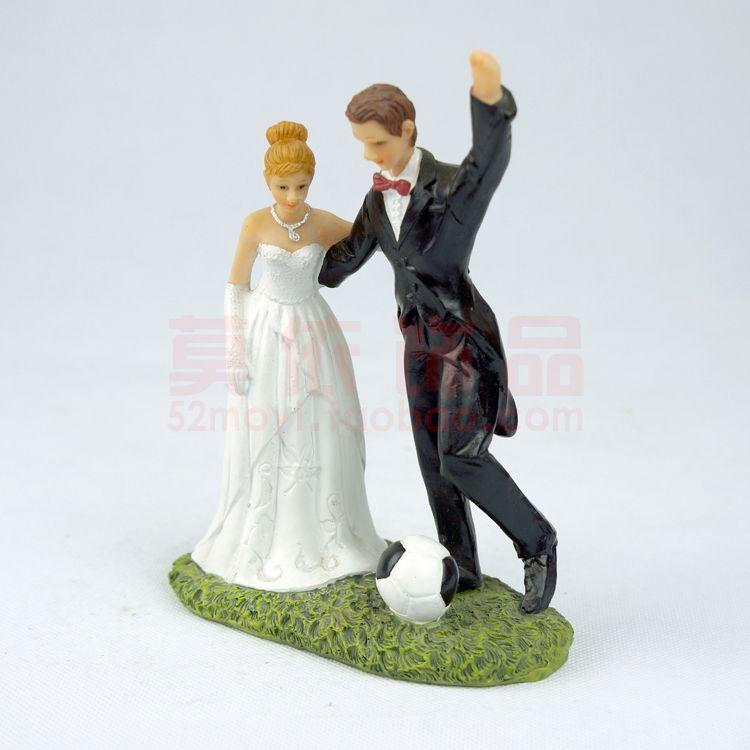 f669ecf926 Polyresin bride and groom romantic hug palying football Europe style ...