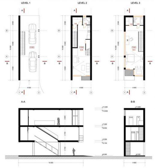 Dise os de casas construidas en terrenos angostos y largos for Oficinas planta arquitectonica