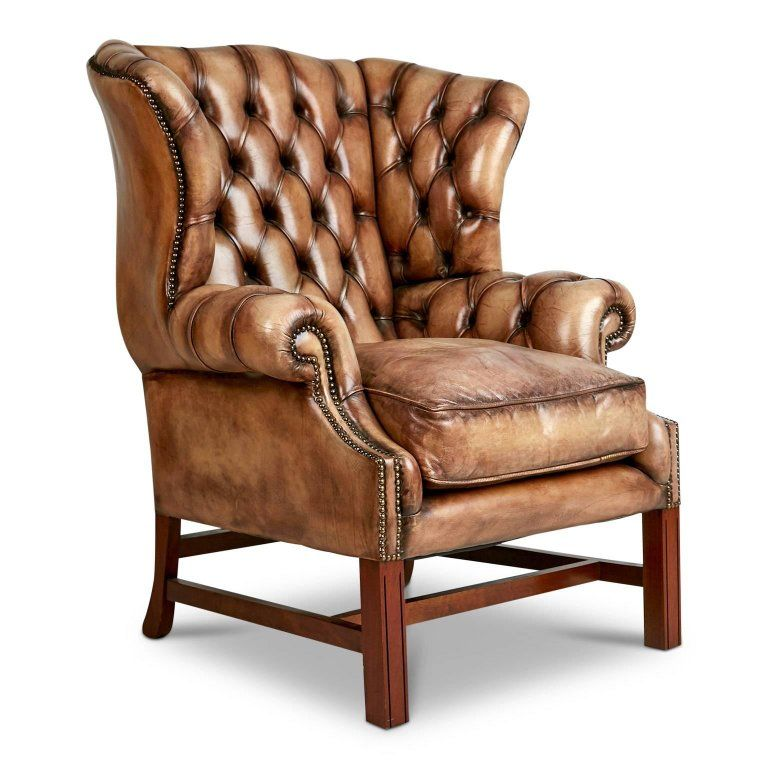 Marvelous English Tufted Leather Wingback Library Lounge Armchair Machost Co Dining Chair Design Ideas Machostcouk