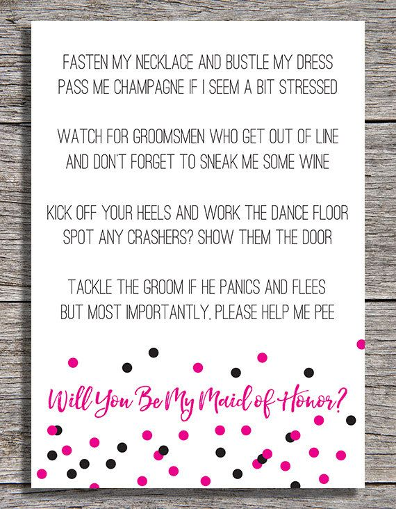 Printable Will You By My Maid Of Honor Card 5 On Etsy Bridesmaid SpeechesBridesmaid