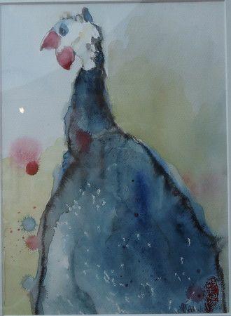Pintade 0 39 9 aquarelle 30x40cm pintades de yoyo aquarelle - Dessin pintade ...