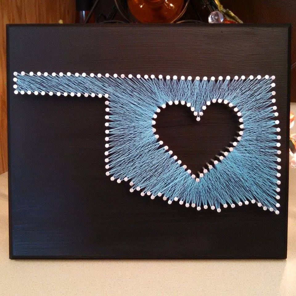 9x11 Custom State String Art With Heart String Art States