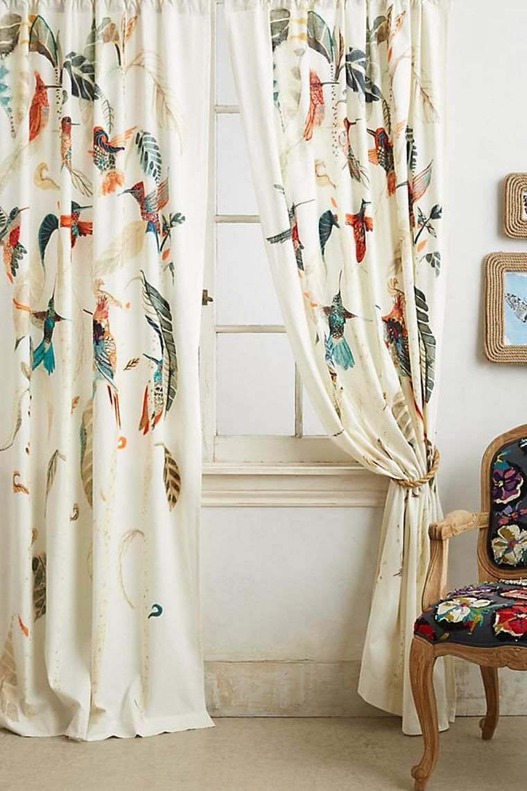 Rideau Imprime Plantes Vertes Oiseaux Decoration Nature Vorhange Ikea Curtains Gardinen Raffrollos