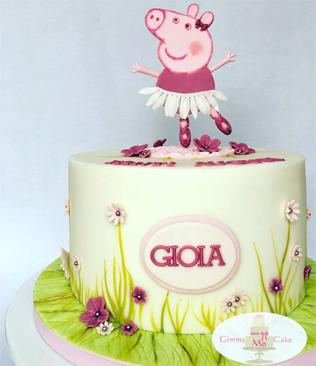Peppa Pig Wutz Ballerina Cake Watercoler On Fondant Peppa Pig Cake Pig Birthday Cakes Peppa Pig Birthday Cake