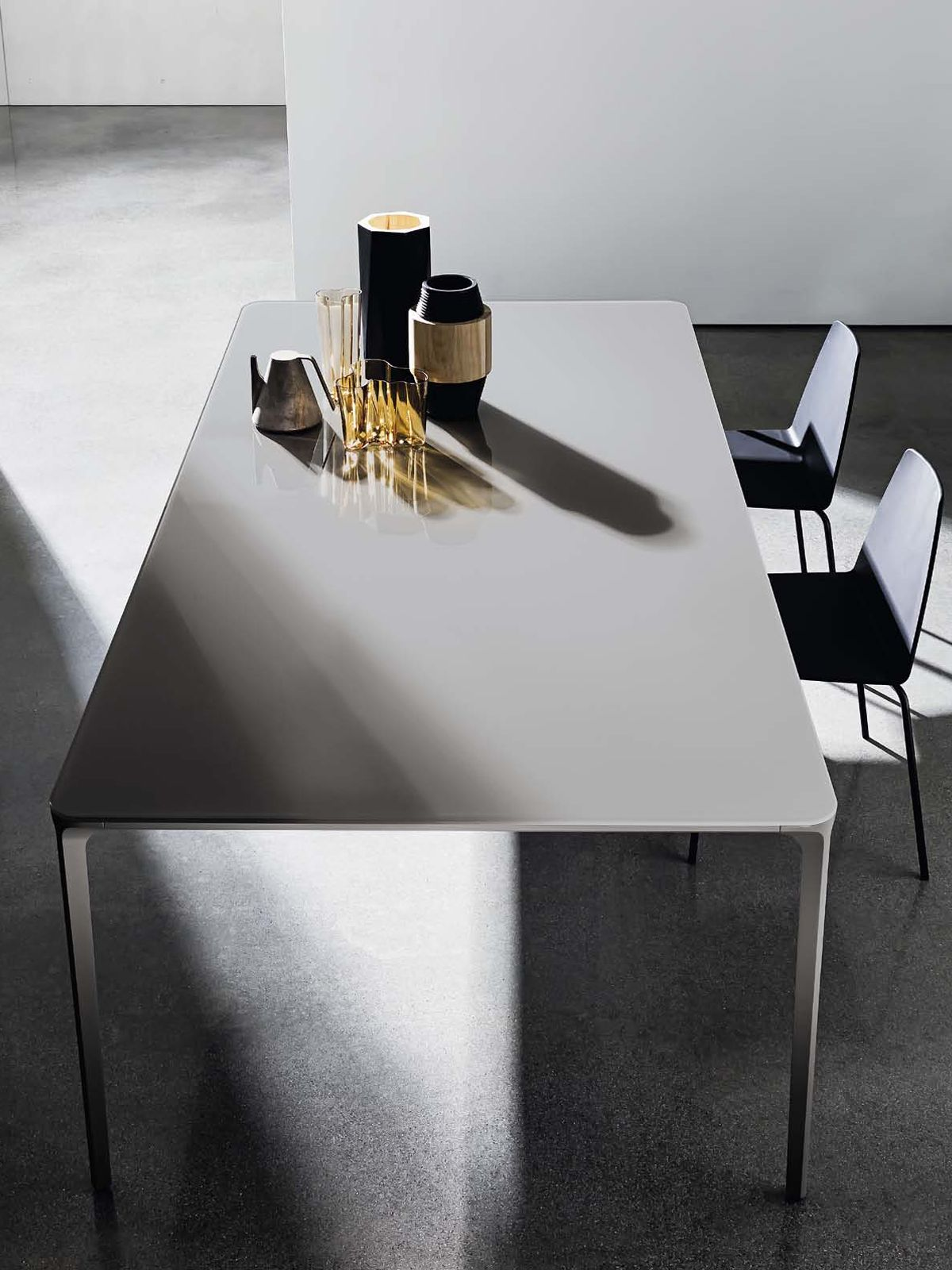 Extendable Dining Table  Slim  Metal Frame With Glass Or Ceramic Amazing Slim Dining Room Tables Design Ideas