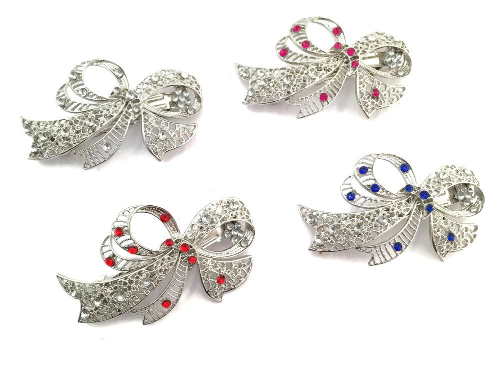 155a29c8ccf65 Vintage Silver Look Bow Crystal Barrette French Hair Clip Spring Grip  Diamante