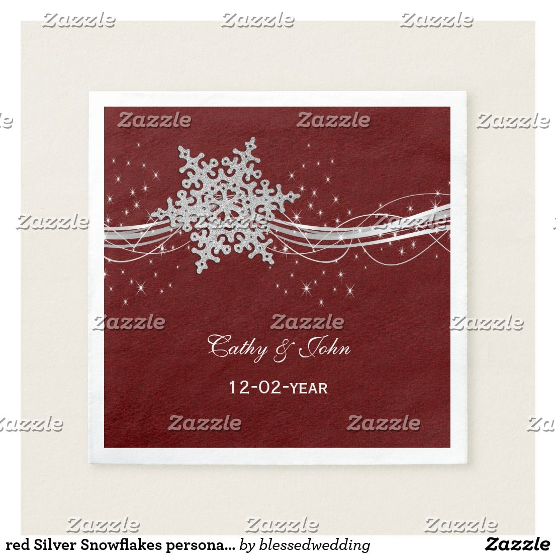 red Silver Snowflakes personalized wedding napkin | { Wedding ...