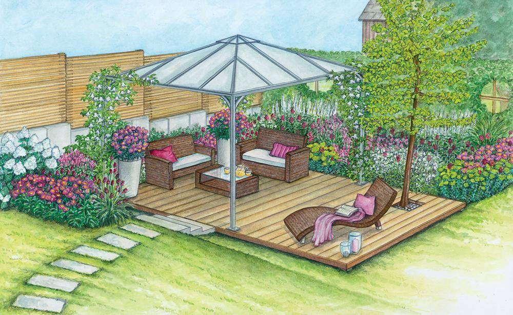 1 Garten 2 Ideen Ein Sitzplatz Wird Aufgemobelt Landschaftsdesign Landschaftsplane Sitzplatz Im Garten