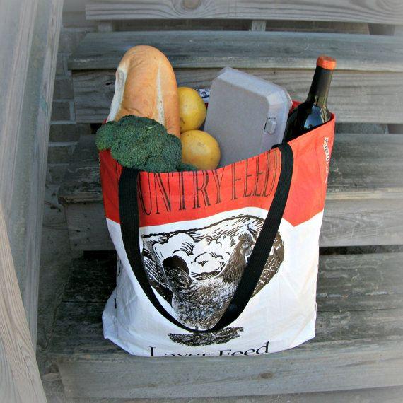 Orange Black Chicken Handmade Reusable Upcycled Eco-friendly Market Feed Tote Shopping Halloween Trick or Treat Bag. $14.00, via Etsy.