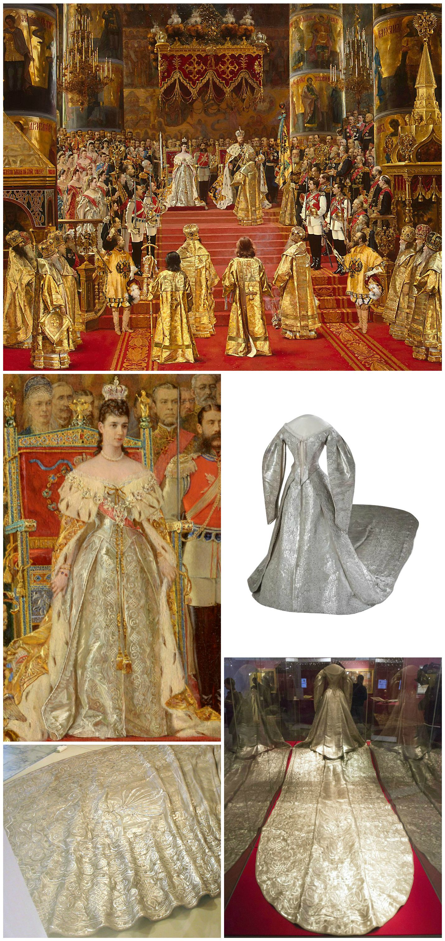 """Coronation dress of Empress Maria Feodorovna, Studio of Izambard Chanceau, embroidery studio of A. Laman, St. Petersburg, 1883. Collection of Moscow Kremlin Museums. Photos via: Moscow Kremlin Museums (three-quarter frontal view); m24.ru (back view); madoa on Flickr (detail of train). Maria Feodorovna can be seen wearing the dress in Georges Becker's 1888 painting, """"The Coronation of Emperor Alexander III and Empress Maria Feodorovna."""" Collection of the State Hermitage Museum, St…"""