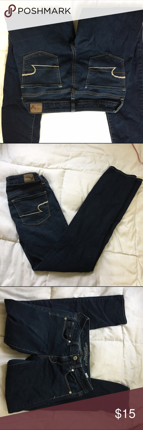American eagle jeggings Dark blue AE jeggings, soft and stretchy, just don't wear them often. No damage :) American Eagle Outfitters Jeans Skinny