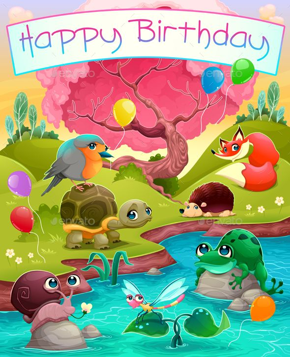 Happy Birthday Card With Animals In The Countryside Art Design