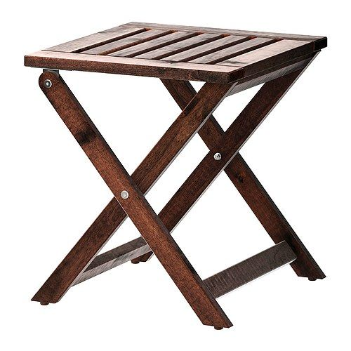 Ikea Applaro Foldable Brown Stained Stool Outdoor For The
