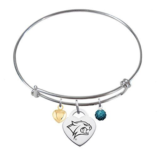 CustomCharms Oklahoma State Expandable Wire Charm Bracelet Bangle w//Blue Color Crystals