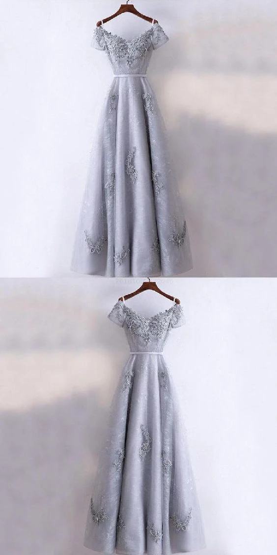 Modest Prom Dresses New Arrival Formal High Quality Prom Dresses, A-line Grey Short Sleeves Bridesmaid Dresses #modestprom