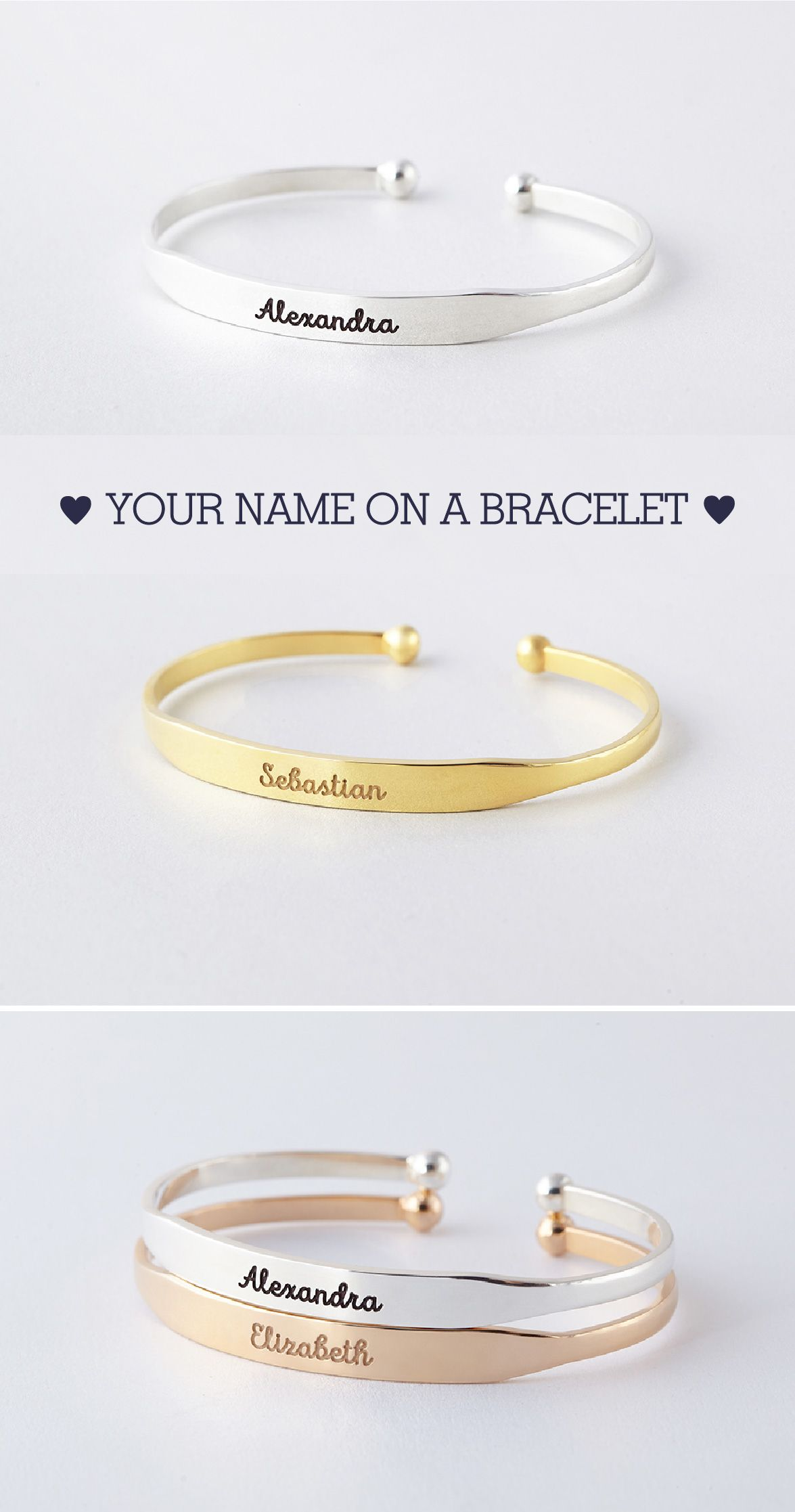 Name Bracelet Cuff With Ball Ends Jewelry Engraved