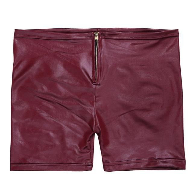 Fashionable Women's Bohemian Slim Fit Stretchy Short Pants Sexy Womens Faux Leather Front Zipper Stretchy Crop Top Short Pants