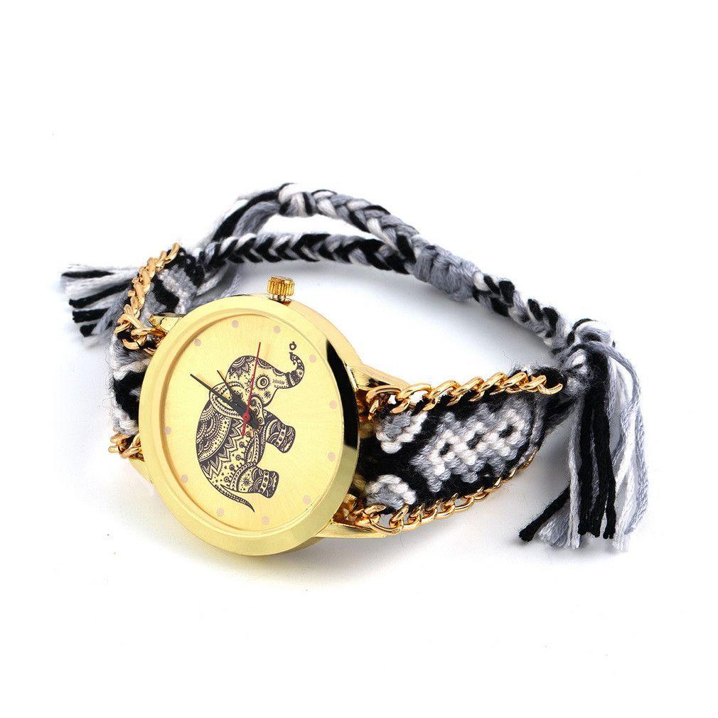 Geneva Ethnic Cotton Blend Braided Analog Quartz Chain Bracelet Wrist Watch Elephant Design sale