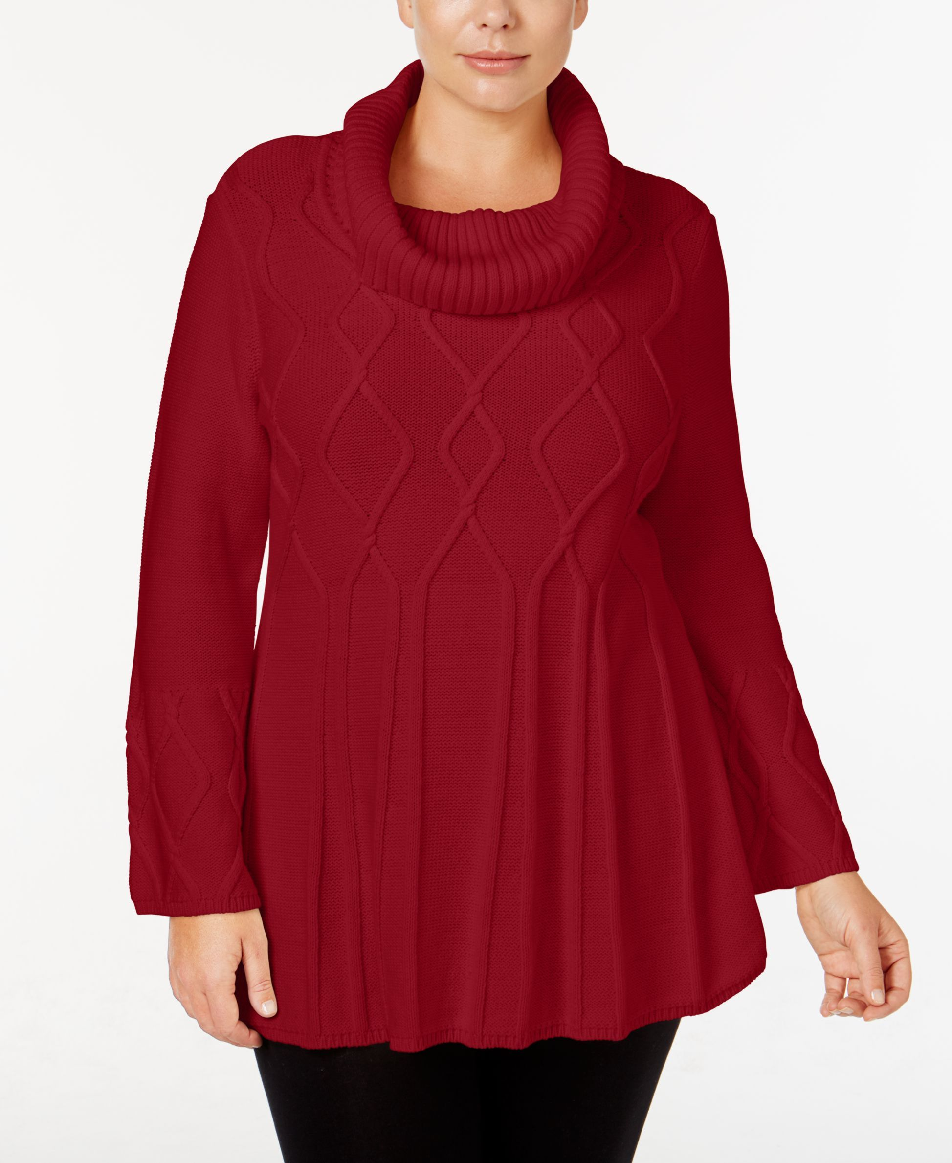 Style & Co Plus Size Cowl-Neck Swing-Hem Sweater, Only at Macy's ...