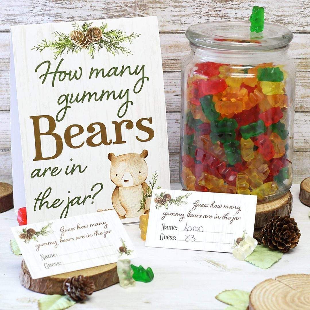 How Many Gummy Bears Woodland Baby Shower Game - Standing Sign and 30 Cards #babyshowerparties