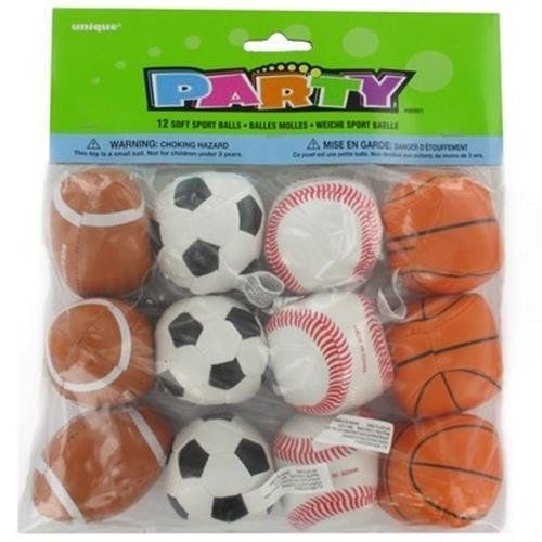 Happy Birthday Party Supplies Favors Games Mini Soft Toss Sports Balls 12pk By Unique Sports Themed Birthday Party Sports Birthday Party Sports Theme Birthday