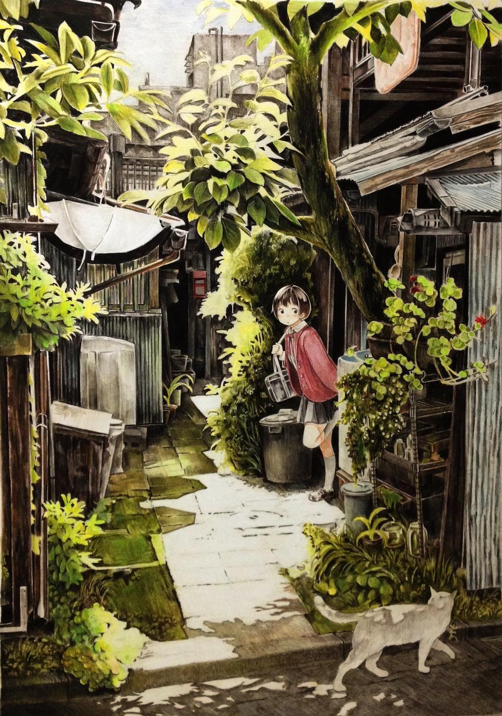 かたひー(カタヒラシュンシ)色鉛筆絵描き (@katahi_0829) | 風景 | pinterest