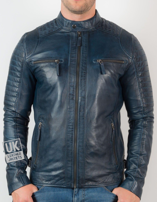 Mens Navy Leather Biker Jacket UK LJ
