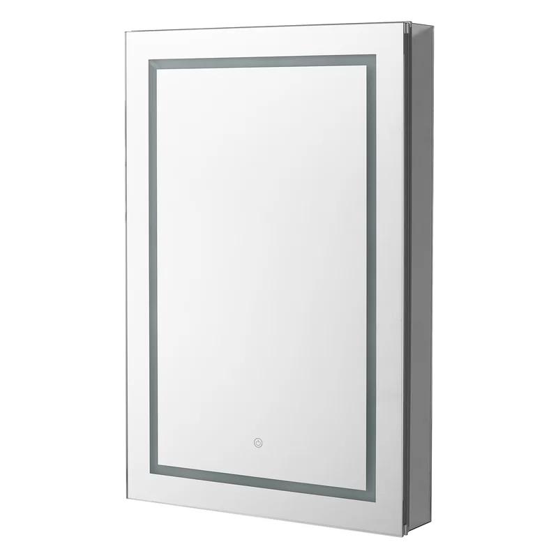 Orren Ellis Sargat Recessed Or Surface Mount Frameless 1 Door Medicine Cabinet With 4 Adjustable Shelves In 2020 Adjustable Shelving Led Lights Tempered Glass Shelves