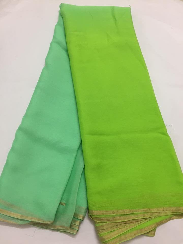 e72e003549 Double shaded pure silk chiffon saree in 2019 | akrithi | Chiffon ...