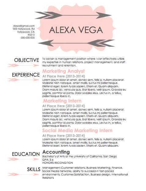 hand over a resume to human resource agents that is simple, sleek, and professional.