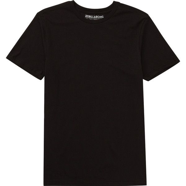 Billabong Unisex Essential Tailored Tee (£14) ❤ liked on Polyvore featuring tops, t-shirts, black, t-shirt/prints, black top, billabong tees, black tee, billabong t shirts and black cotton t shirt