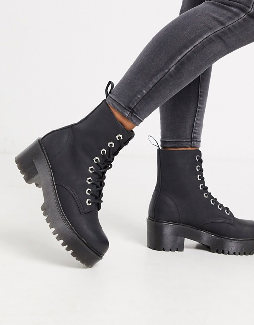 New Look chunky lace up heeled boots in