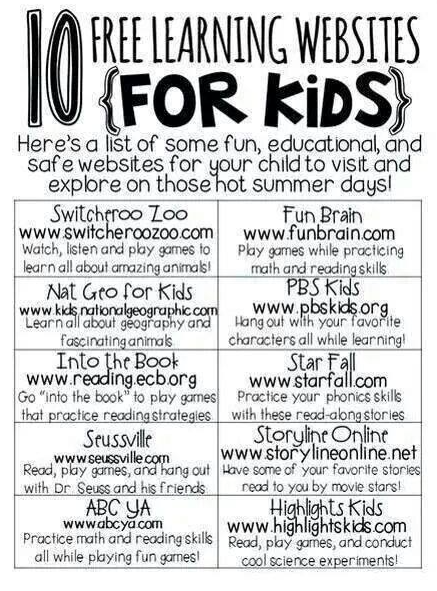 **No Link** 10 Free Learning Websites for Kids