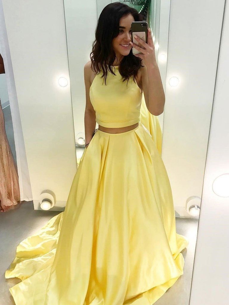 Cheap two piece yellow satin formal halter long simple prom dresses