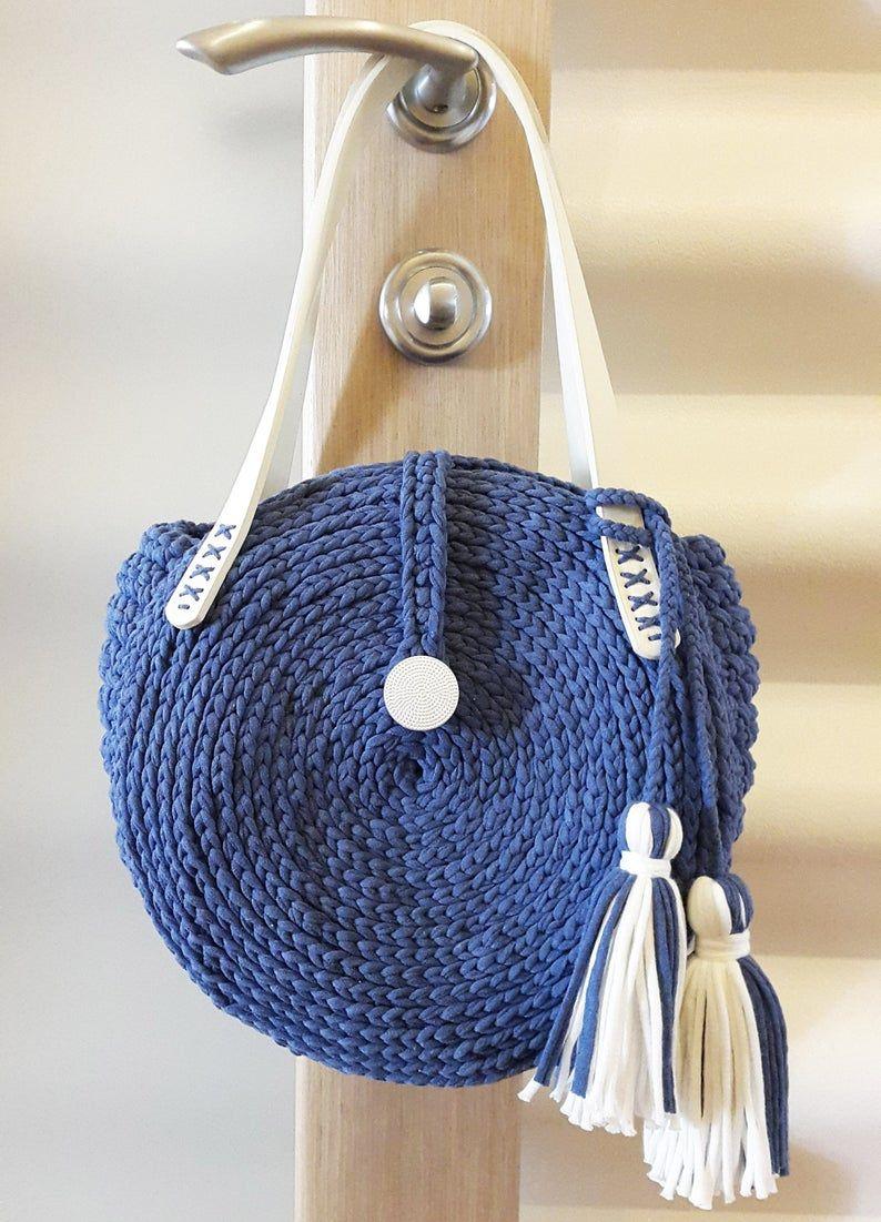 Crochet round bag Knit circle bag Stylish round womens handmade snail bag Beach bag Crochet shoulder bag Comfortable summer bag Blue handbag