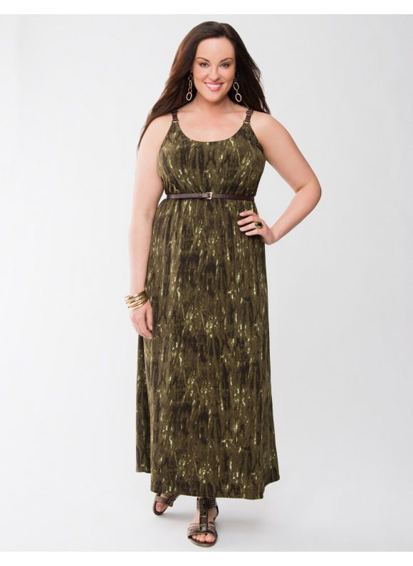 f2c3c8c085a Lane Bryant Plus Size Faux Leather strap maxi dress - - Women s