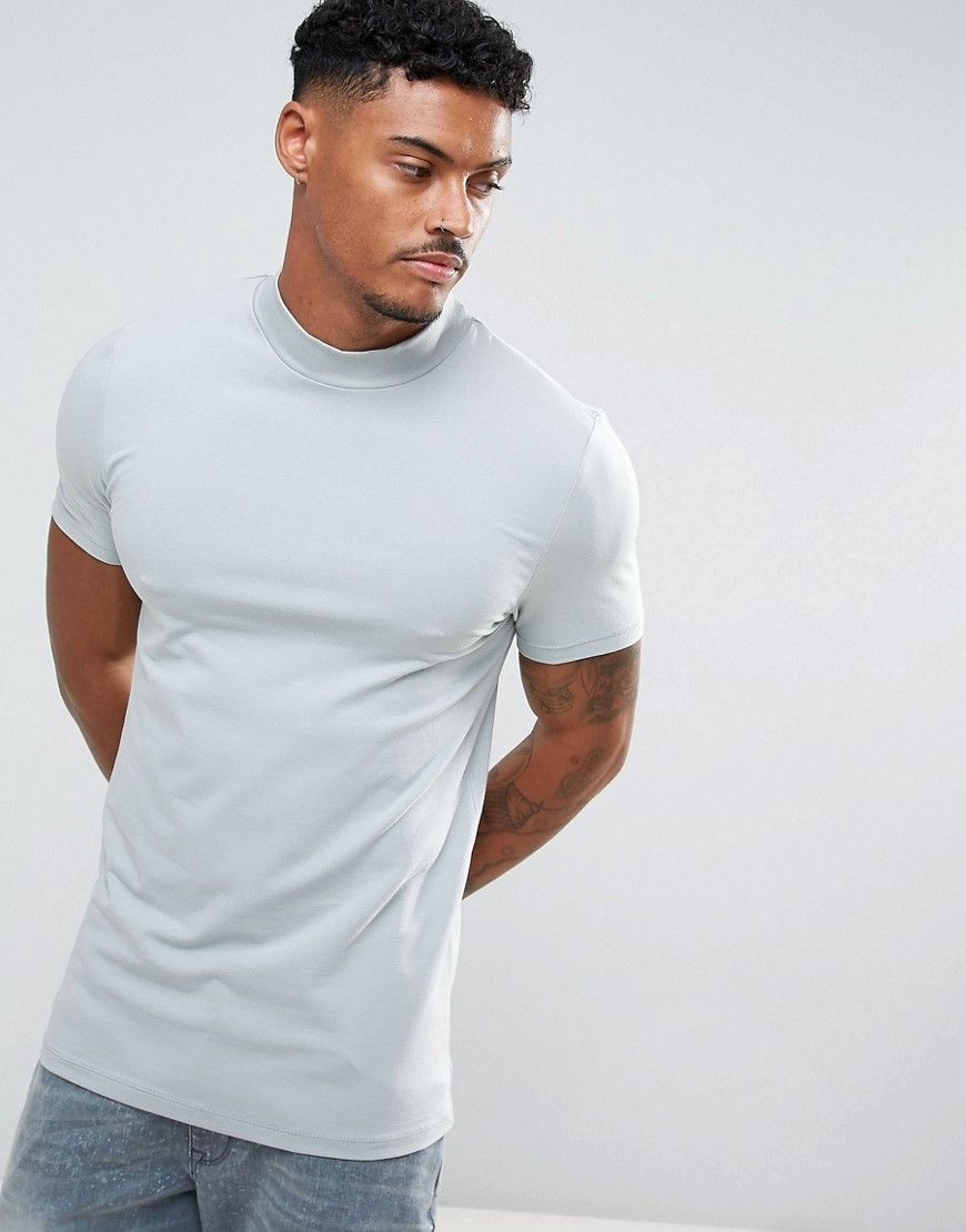 ASOS Muscle Fit T-Shirt With Turtle Neck - Blue: Muscle fit T-shirt by ASOS,  Stretch jersey, Turtle neck, Slim-cut sleeves, ...