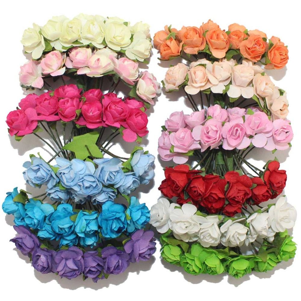 1cm Single Head 12colors Artificial Flower Bouquet Paper Rose Diy