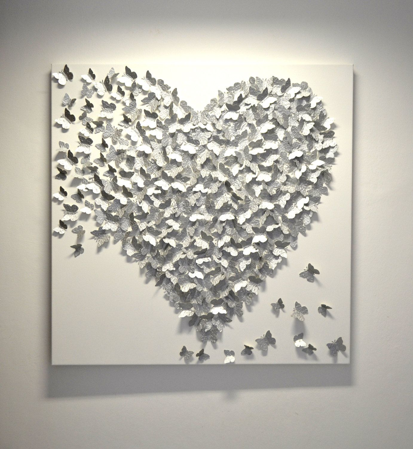 Wall Decoration For Wedding Anniversary : D silver butterfly art hollywood regency glam modern