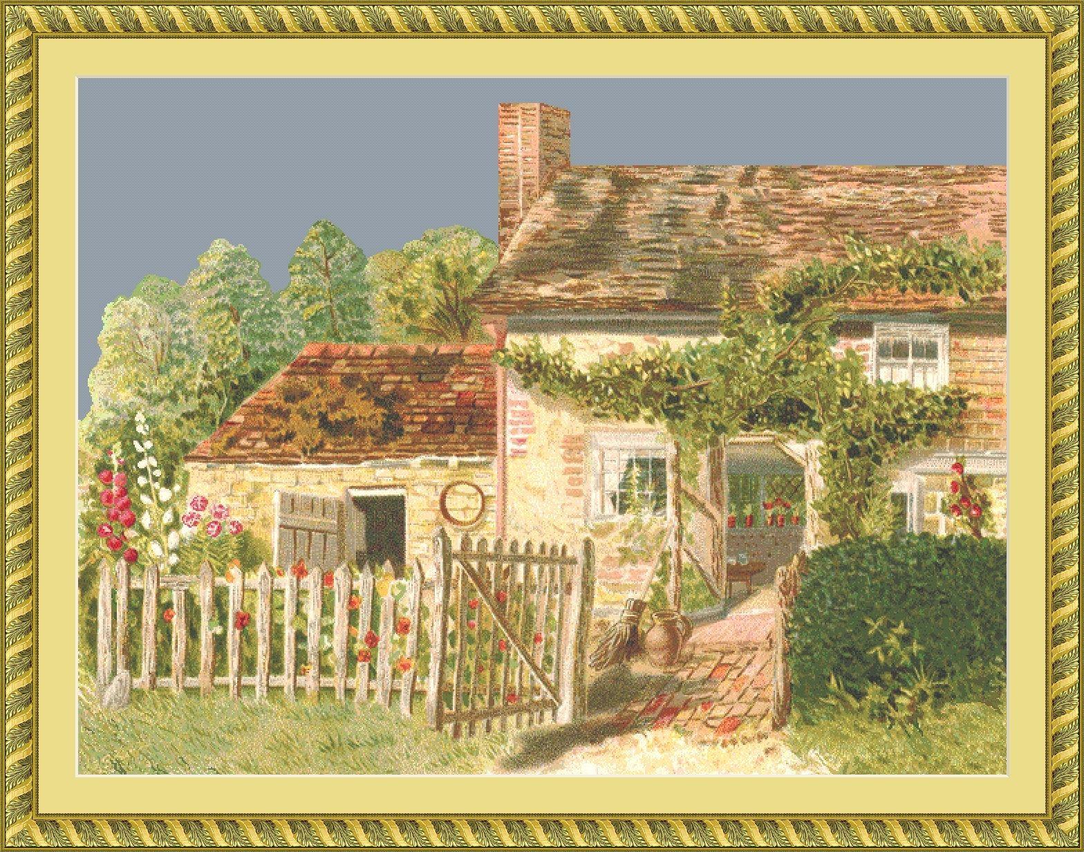 Cottage Cross Stitch Pattern PDF   Vintage English Garden Wall Art ...