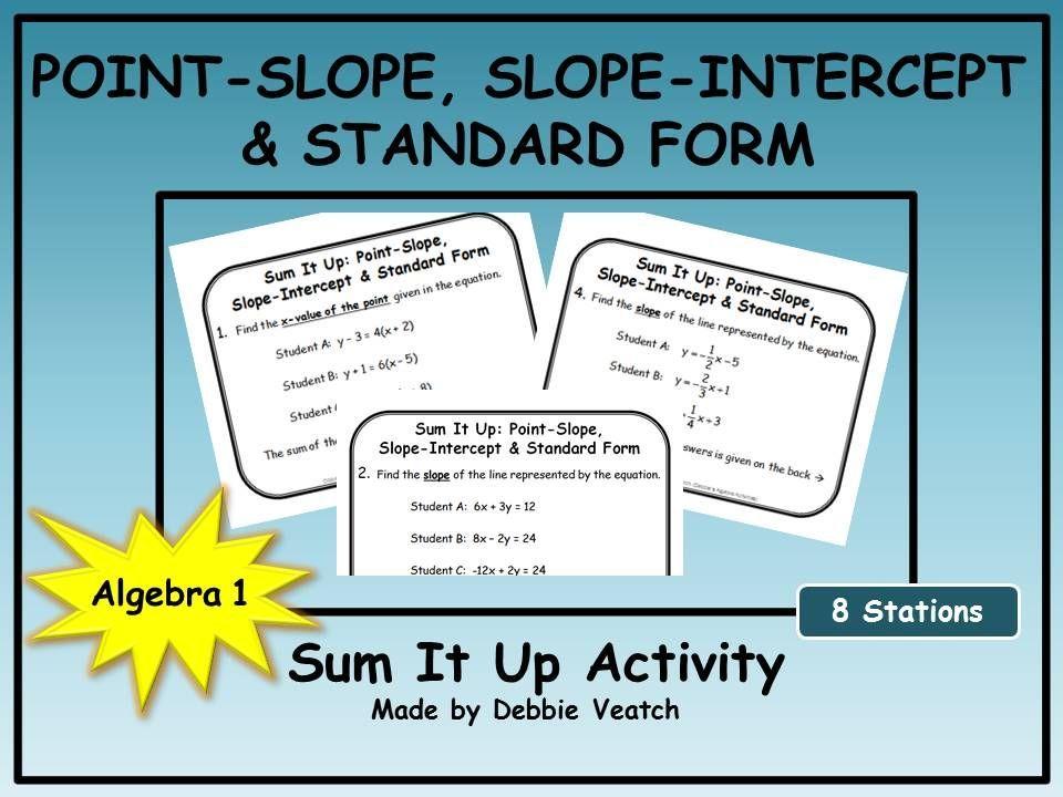 Point Slope Slope Intercept Standard Form Sum It Up Activity