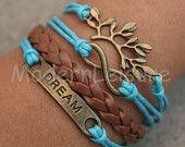 Brown Bracelet Infinity bracelet teal bracelet charm bracelet dream bracelet vintage tree bracelet for women leaf bracelet