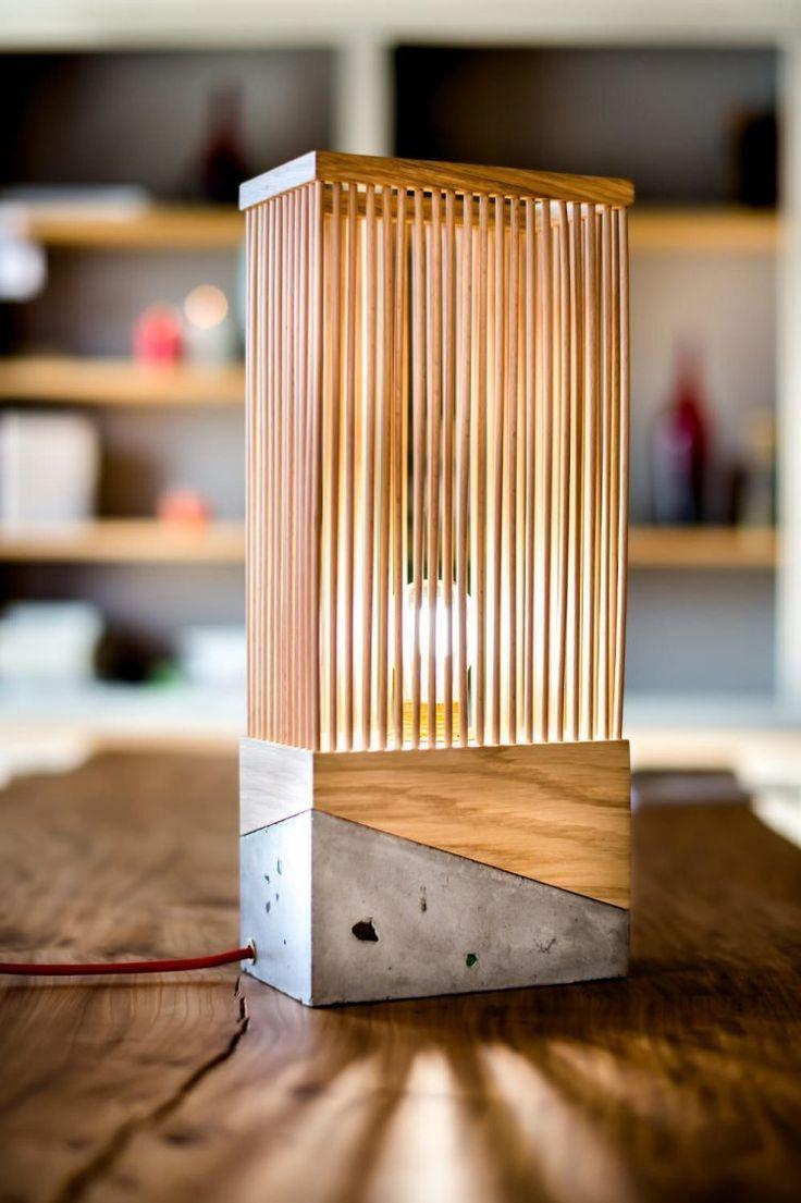 Tischlampe aus Holz und Beton Tischlampen aus holz