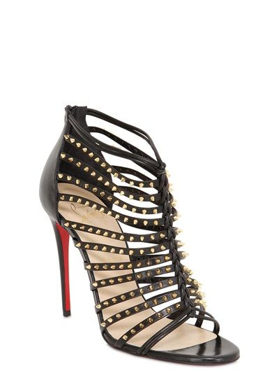CHRISTIAN LOUBOUTIN - 100MM MILLACLOU SPIKE LEATHER CAGE BOOTS - LUISAVIAROMA - LUXURY SHOPPING WORLDWIDE SHIPPING - FLORENCE