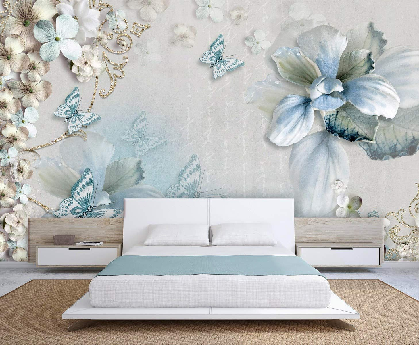 White Brown Flowers Blue Butterflies 3d Wallpaper Beddingroom Livingroom Tvbackground H Wallpaper Decor Blue Butterfly Wallpaper Living Room Designs