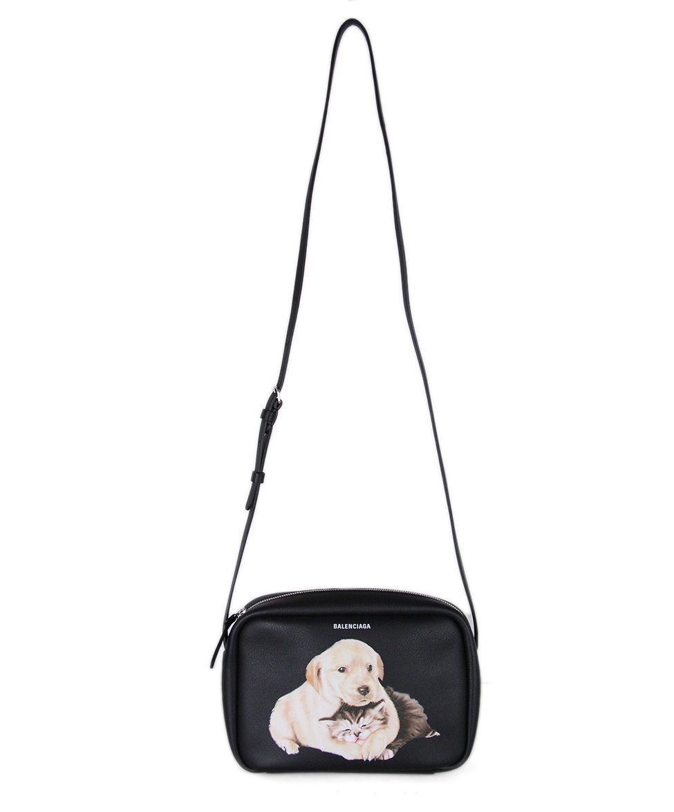 Balenciaga Puppy And Kitten Black Leather Crossbody Leather Crossbody Black Leather Leather