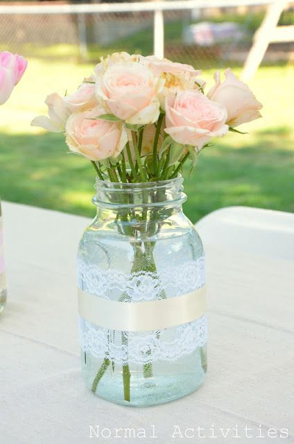 Mason jar with lace diy pinterest receptions jars