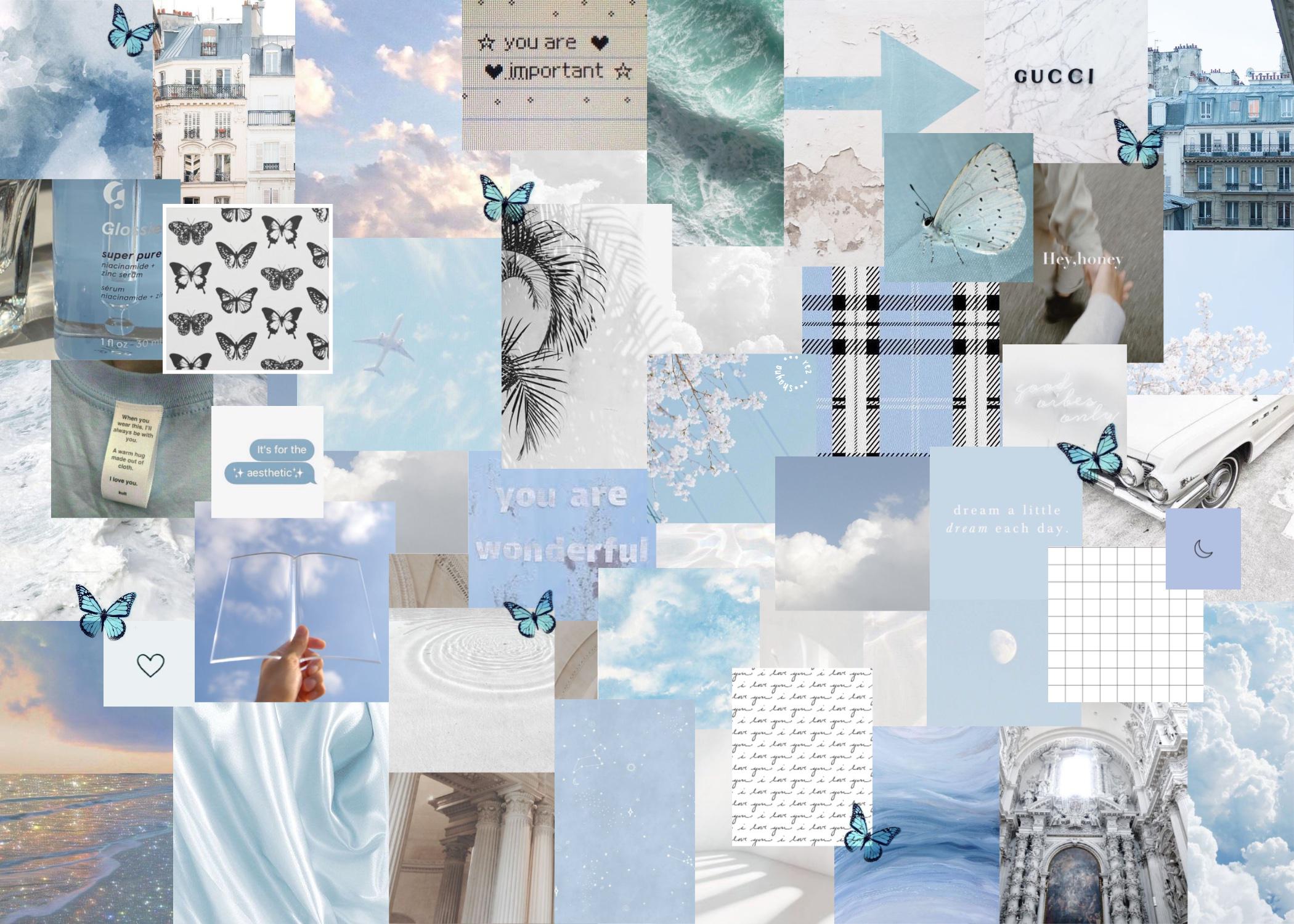 Blue White Aesthetic Laptop Wallpaper In 2020 Aesthetic Desktop Wallpaper Blue Aesthetic Pastel Laptop Wallpaper